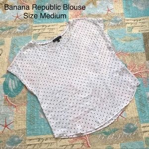 Banana Republic White Blouse w/ Black Spots Medium